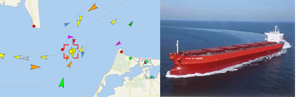 Panamax aground in the Fehmern Belt
