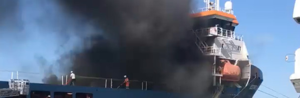 Fire on windmill ship in Esbjerg